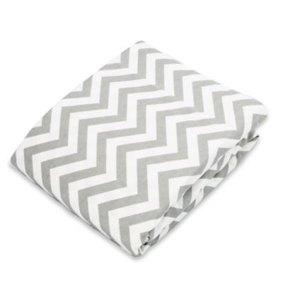 kushies® Flannel Portable Play Pen Fitted Sheet In Chevron Grey