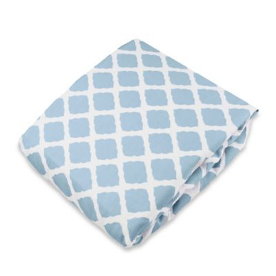 kushies® Flannel Portable Play Pen Fitted Sheet in Lattice Blue