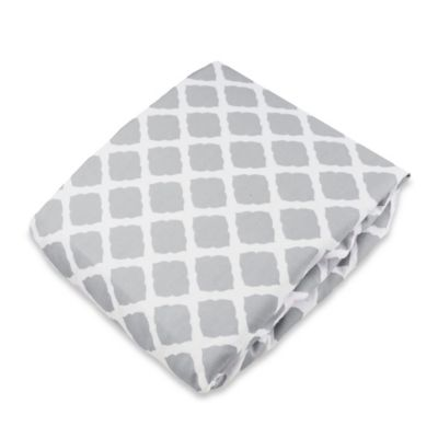 kushies® Flannel Portable Play Pen Fitted Sheet in Lattice Grey