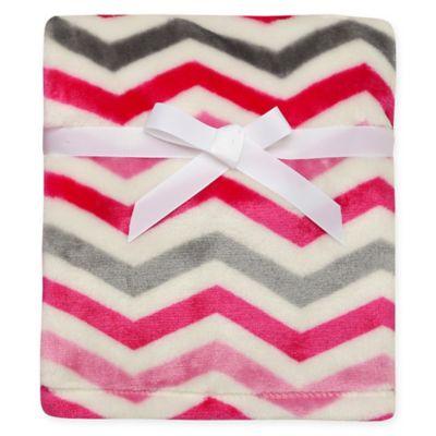 Baby Starters® Chevron Print Micro Velour Blanket in Pink/Grey