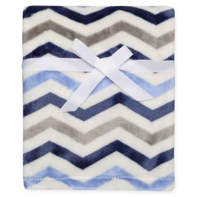 Baby Starters® Chevron Print Micro Velour Blanket in Blue/Grey