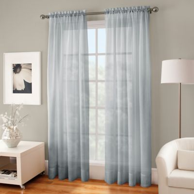 Crushed Voile Sheer 63-Inch Rod Pocket Window Curtain Panel in Pearl Blue