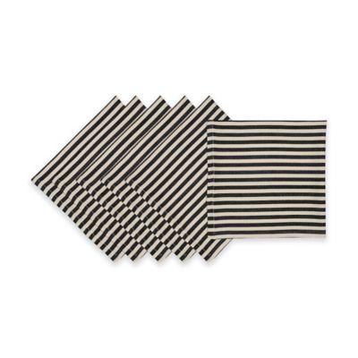 Black Petite Stripe Napkin ( Set of 6)