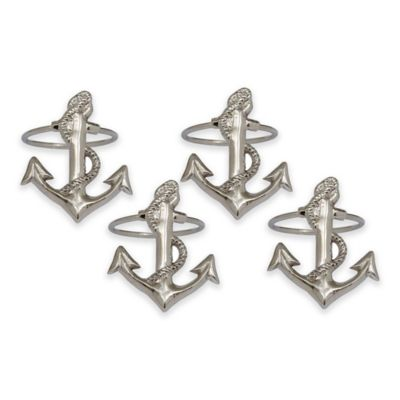 Anchor Silver Napkin Rings (Set of 4)