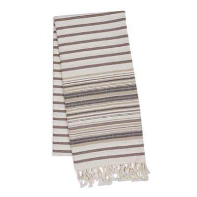 French Stripe Fouta Towel in Taupe