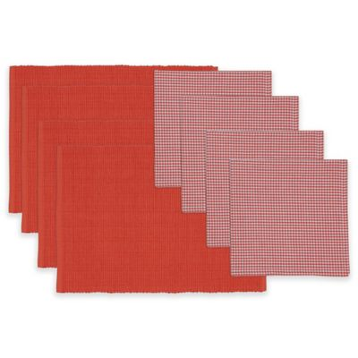 Red Gelato Placemat and Check Napkin Set