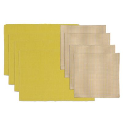 Snapdragon Placemat and Check Napkin Set