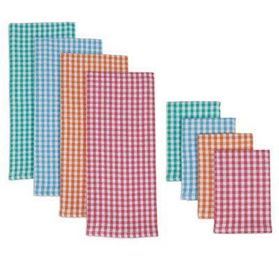 Summer Checks Kitchen Towel & Dish Cloth (Set of 8)