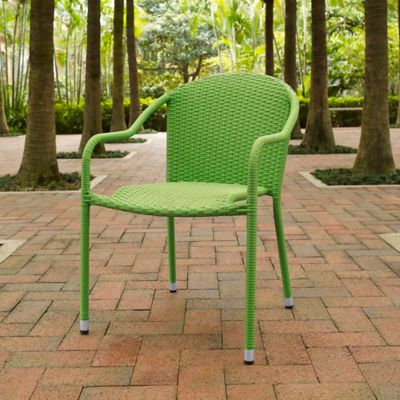 Crosley Palm Harbor Wicker Stacking Chairs in Green (Set of 4)