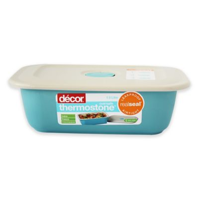 Décor Thermostone® 33.8 oz. Oblong Ceramic Baker with Airtight Lid