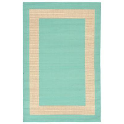 Liora Manne Border 3-Foot 3-Inch x 4-Foot 11-Inch Indoor/Outdoor Rug in Turquoise