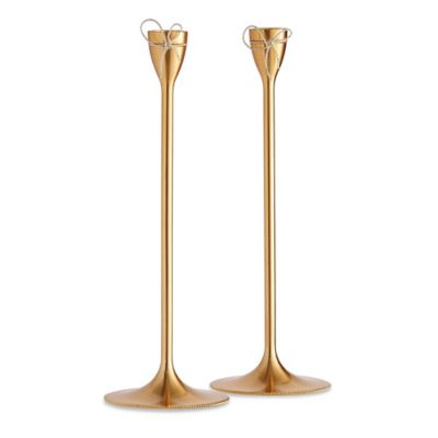 Vera Wang Wedgwood® Love Knots Gold Taper Candle Holders (Set of 2)