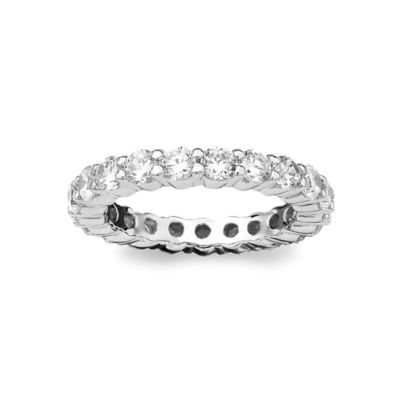 CRISLU Platinum-Plated Sterling Silver 2.0 cttw Cubic Zirconia Ladies' Eternity Wedding Band