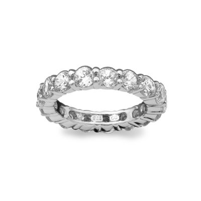 CRISLU Platinum-Plated Sterling Silver 3.5 cttw Cubic Zirconia Size 8 Ladies' Eternity Wedding Band
