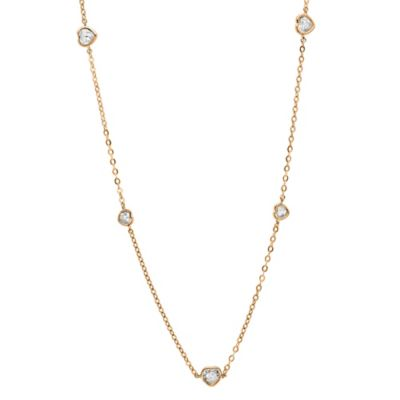 CRISLU 18K Rose Gold-Plated Cubic Zirconia 16-Inch Chain Heart Station Necklace