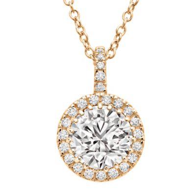 CRISLU 18K Rose Gold-Plated Cubic Zirconia 16-Inch Chain Halo Brilliant Pendant Necklace