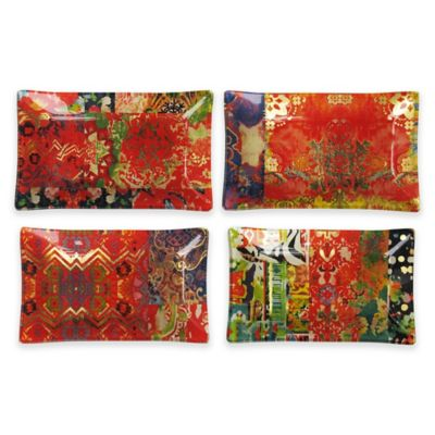 Tracy Porter Rectangular Trays in Red (Set of 4)