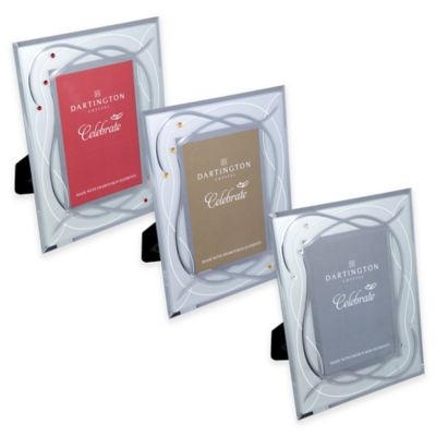 Dartington Crystal 4-Inch x 6-Inch Celebrate Silver Picture Frame
