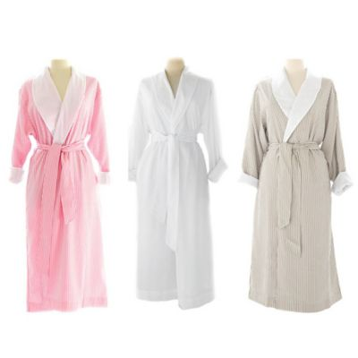 Telegraph Hill Small Seersucker Double-Layer Microfiber Robe in Taupe