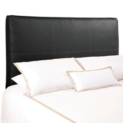 BackDrop™ Avalon Black Distressed Faux Leather Full/Queen Upholstered Headboard