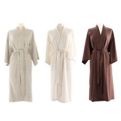 Telegraph Hill Seersucker Single-Layer Microfiber Kimono Robe in Taupe