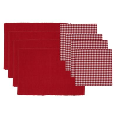 Candy Apple Placemat and Napkin Set in Red/White