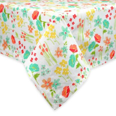 April Flowers 60-Inch x 84-Inch Oblong Tablecloth