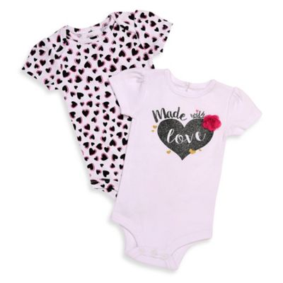 """Baby Starters® Newborn 2-Pack """"Made with Love""""/Heart Print Flutter Sleeve Bodysuits"""