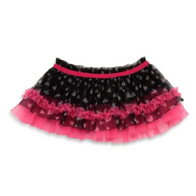 Baby Starters® Newborn Foil Heart Tutu Skirt with in Black/Pink