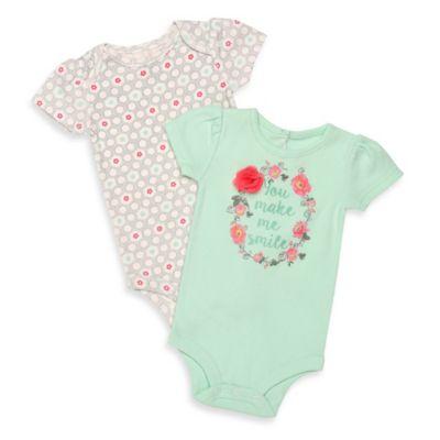 "Baby Starters® Newborn 2-Pack ""You Make Me Smile""/Floral Print Flutter Sleeve Bodysuits"