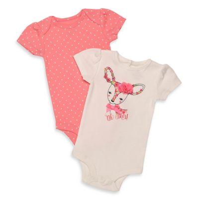 "Baby Starters® Newborn 2-Pack ""Oh Deer""/Dot Print Flutter Sleeve Bodysuits"