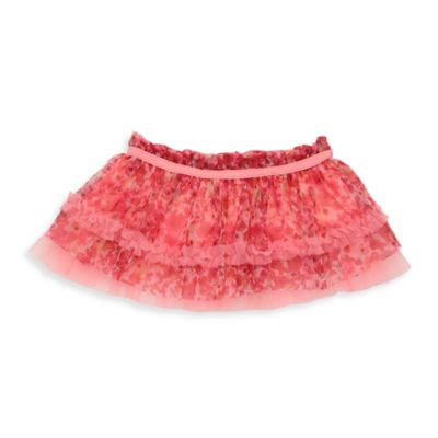 Baby Starters® Newborn Tutu Skirt with Mini-Floral Print in Coral with Ruched Trim