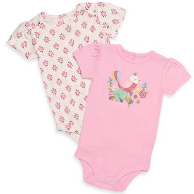 Baby Starters® Newborn 2-Pack Bird/Flutter Sleeve Bodysuits in Pink/White