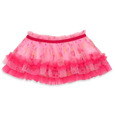 Baby Starters® Newborn Tutu Skirt with Flower Print in Pink with Ruched Trim