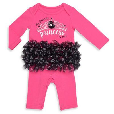 "Baby Starters® Newborn ""My Favorite Princess"" Tutu Coverall in Pink/Black"