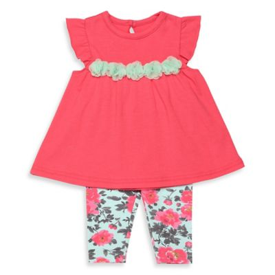 Baby Starters® Newborn 2-Piece Flutter Sleeve Tunic and Floral Legging Set in Pink/Aqua