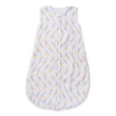 Bebe au Lait® Size 6-12M Wildflowers Muslin Full-Zip Wearable Blanket in Yellow/Grey