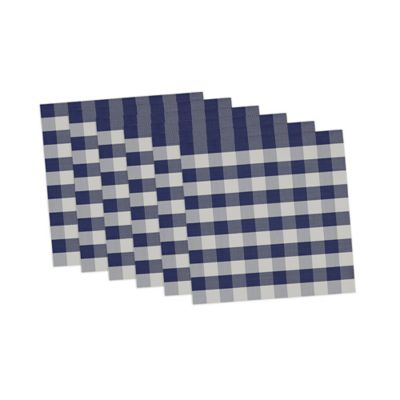 Checkers Placemats in Blue/White (Set of 6)