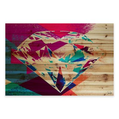 Marmont Hill 36-Inch x 24-Inch Diamond in the Rough Pine Wood Wall Art