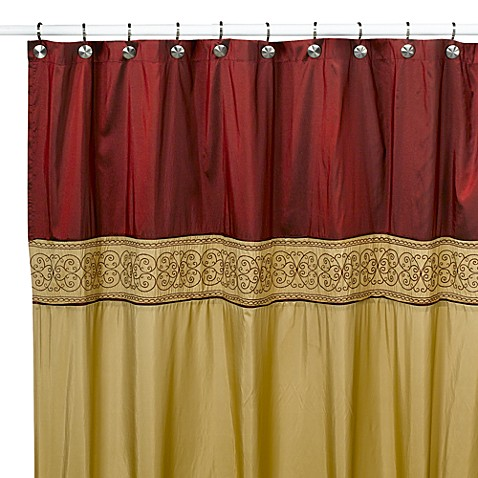 Addison Red And Gold Shower Curtain