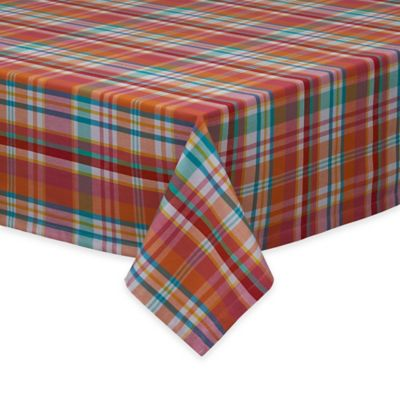 Malibu Madras Plaid 52-Inch x 52-Inch Tablecloth