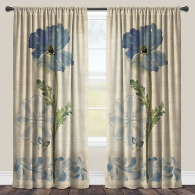 Laural Home® Watercolor Poppies 95-Inch Rod Pocket Sheer Window Curtain Panel in Indigo
