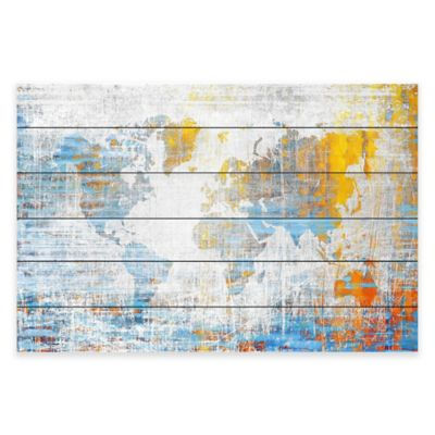 Marmont Hill Continental Journey 60-Inch x 40-Inch White Wood Wall Art