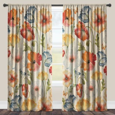 Laural Home® Watercolor Poppies 95-Inch Rod Pocket Sheer Window Curtain Panel in Red