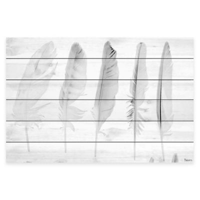 Marmont Hill Five White Feathers 60-Inch x 40-Inch White Wood Wall Art
