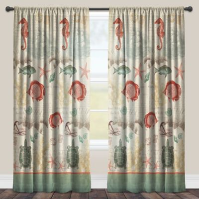Laural Home® Seaside Postcard 84-Inch Rod Pocket Sheer Window Curtain Panel in Green