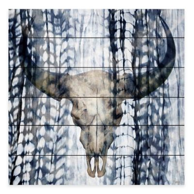 Parvez Taj Blue Skull 40-Inch x 40-Inch White Wood Wall Art