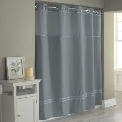 Hookless Blue Shower Curtain Liner