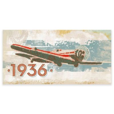 Marmont Hill Vintage Plane 1936 60-Inch x 30-Inch Canvas Wall Art