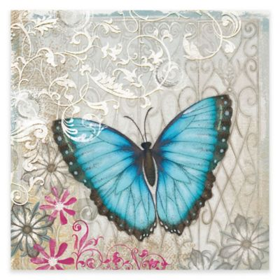 Marmont Hill A Light Blue Butterfly 48-Inch x 48-Inch Canvas Wall Art